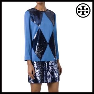TORY BURCH LONG SLEEVE SEQUIN DRESS